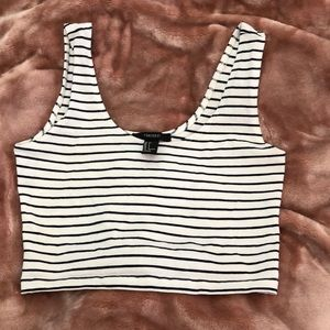 F21 white/black strips crop top
